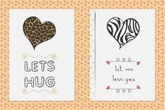 Sistema de tarjetas de felicitación dibujadas mano del día de tarjetas del día de San Valentín del santo con el corazón Fotografía de archivo