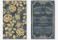 sistema de tarjetas de felicitación con la flor Excepto la fecha Letras elegantes para los saludos Foto de archivo