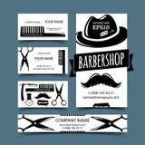 Sistema de tarjetas de la barbería Fotos de archivo libres de regalías