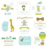 Sistema de tarjetas de la fiesta de bienvenida al bebé libre illustration