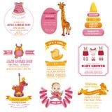 Sistema de tarjetas de la fiesta de bienvenida al bebé y de llegada Foto de archivo libre de regalías