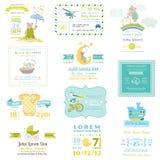 Sistema de tarjetas de la fiesta de bienvenida al bebé y de llegada Imagenes de archivo