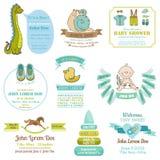 Sistema de tarjetas de la fiesta de bienvenida al bebé y de llegada - con el lugar para su texto Fotos de archivo libres de regalías