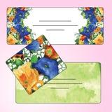 Sistema de tarjetas de la invitación con los elementos de la flor de la acuarela Foto de archivo libre de regalías