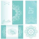Sistema de tarjetas de la invitación de la boda con los elementos florales fotos de archivo libres de regalías