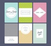 Sistema de tarjetas de la invitación de la boda Fotografía de archivo libre de regalías