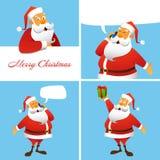 Sistema de tarjetas de la Navidad cuatro y del Año Nuevo Fotografía de archivo libre de regalías
