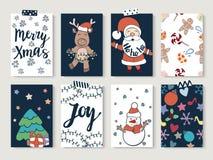 Sistema de tarjetas de la Navidad y de la Feliz Año Nuevo Fotografía de archivo libre de regalías
