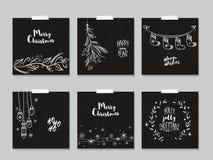 Sistema de tarjetas de la Navidad y del Año Nuevo Fotografía de archivo libre de regalías
