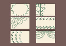 Sistema de tarjetas de la visita con diseño floral simple Plantillas florales con las ramas lindas de hojas Foto de archivo libre de regalías
