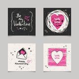 Sistema de tarjetas de las tarjetas del día de San Valentín Fotografía de archivo
