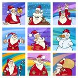 Sistema de tarjetas de Papá Noel de la Navidad Imágenes de archivo libres de regalías