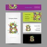 Sistema de tarjetas de visita con diseño floral de la letra B Imagen de archivo libre de regalías