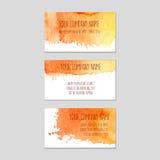 Sistema de tarjetas de visita con el fondo de la acuarela Imagen de archivo