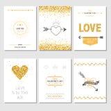 Sistema de tarjetas del amor ilustración del vector