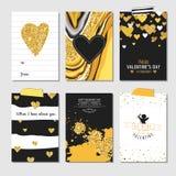 Sistema de tarjetas del amor con brillo del oro libre illustration