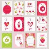 Sistema de tarjetas del bebé Foto de archivo libre de regalías