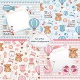 Sistema de tarjetas del bebé Diseño de tarjeta recién nacido Fotografía de archivo