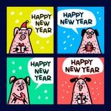 Sistema de tarjetas del cerdo Cerdos divertidos con los bastones de caramelo, los regalos y los sombreros de santa Símbolo chino  stock de ilustración