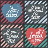 Sistema de tarjetas del día de tarjeta del día de San Valentín Fotografía de archivo