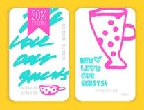 Sistema de tarjetas del descuento del café Modelo para su diseño Fotos de archivo libres de regalías