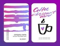 Sistema de tarjetas del descuento del café Modelo para su diseño Foto de archivo