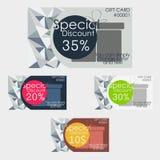 Sistema de tarjetas del descuento Textura poligonal libre illustration