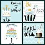 Sistema de tarjetas del partido del feliz cumpleaños Fotografía de archivo