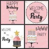Sistema de tarjetas del partido del feliz cumpleaños Foto de archivo libre de regalías