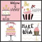 Sistema de tarjetas del partido del feliz cumpleaños ilustración del vector