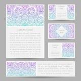 Sistema de tarjetas del vector con el ornamento abstracto de la mandala Imagen de archivo libre de regalías