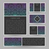 Sistema de tarjetas del vector con el ornamento abstracto de la mandala Invitación c Imagen de archivo libre de regalías