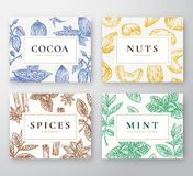 Sistema de tarjetas dibujado mano de los granos de cacao, de la menta, de las nueces y de las especias Colección abstracta de los Fotografía de archivo