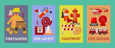 Sistema de tarjetas, ejemplo de la seguridad contra incendios del vector de las banderas Uniforme e inventario del bombero Equipo ilustración del vector