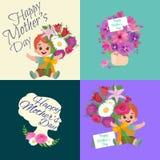 Sistema de tarjetas felices del día de madres con el texto y niños del saludo, bebé y muchacha con el bouqkuet de flores en estil Imagen de archivo