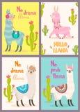 Sistema de tarjetas de felicitación con la llama Llama estilizada de la historieta con diseño y el cactus del ornamento Cartel de