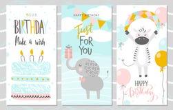 Sistema de tarjetas de felicitación del cumpleaños y de plantillas de la invitación del partido con el elefante, la cebra y la to ilustración del vector