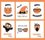Sistema de tarjetas de felicitación de Halloween stock de ilustración