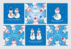 Sistema de tarjetas de felicitación de la Navidad con los muñecos de nieve lindos dibujados mano Fotos de archivo libres de regalías