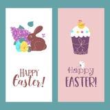 Sistema de tarjetas de felicitación de Pascua Pascua feliz Ilustración del vector ilustración del vector