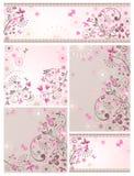 Sistema de tarjetas florales abstractas de saludo Fotografía de archivo