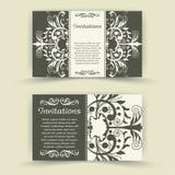 Sistema de tarjetas florales de la invitación. Imagenes de archivo