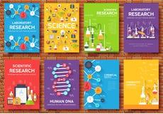 Sistema de tarjetas de información de ciencia plantilla del laboratorio del aviador, revistas, carteles, cubierta de libro, bande ilustración del vector