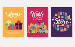 Sistema de tarjetas de información del regalo Sorprenda la plantilla de flyear, revistas, carteles, cubierta de libro, banderas C ilustración del vector