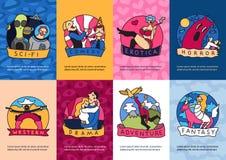 Sistema de tarjetas de los géneros del cine libre illustration