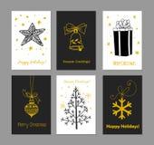 Sistema de 6 tarjetas de Navidad ilustración del vector