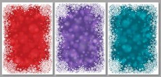 Sistema de tarjetas de Navidad con los copos de nieve stock de ilustración