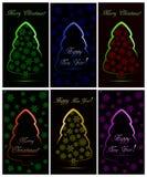 Sistema de tarjetas de Navidad con seis árboles de navidad de neón abstractos con los copos de nieve ilustración del vector