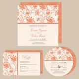 Sistema de tarjetas o de avisos de la invitación de la boda ilustración del vector
