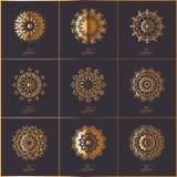 Sistema de tarjetas ornamentales con la mandala oriental de la flor del oro en dar Imágenes de archivo libres de regalías